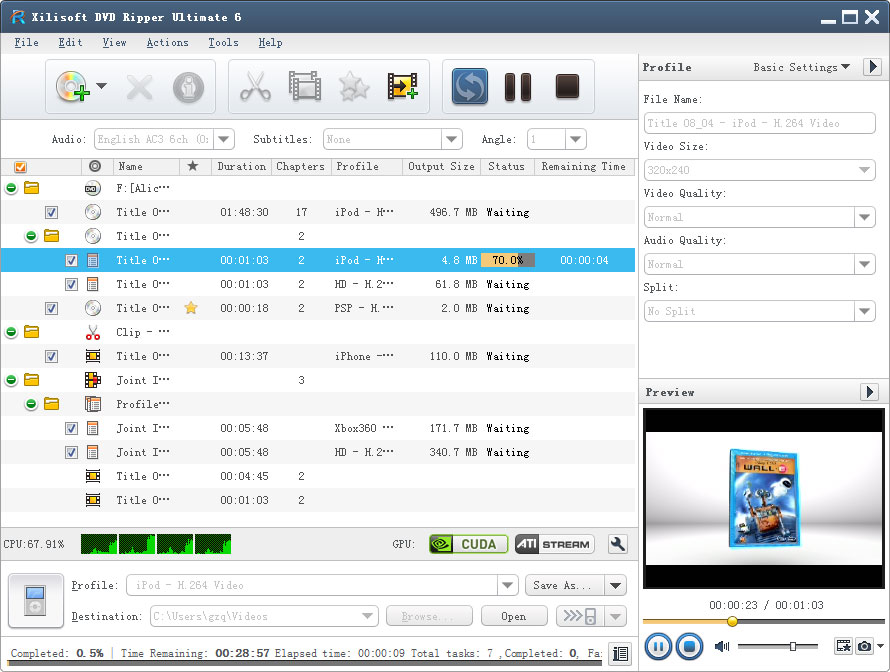 Xilisoft DVD Ripper Ultimate(UK) Screen shot
