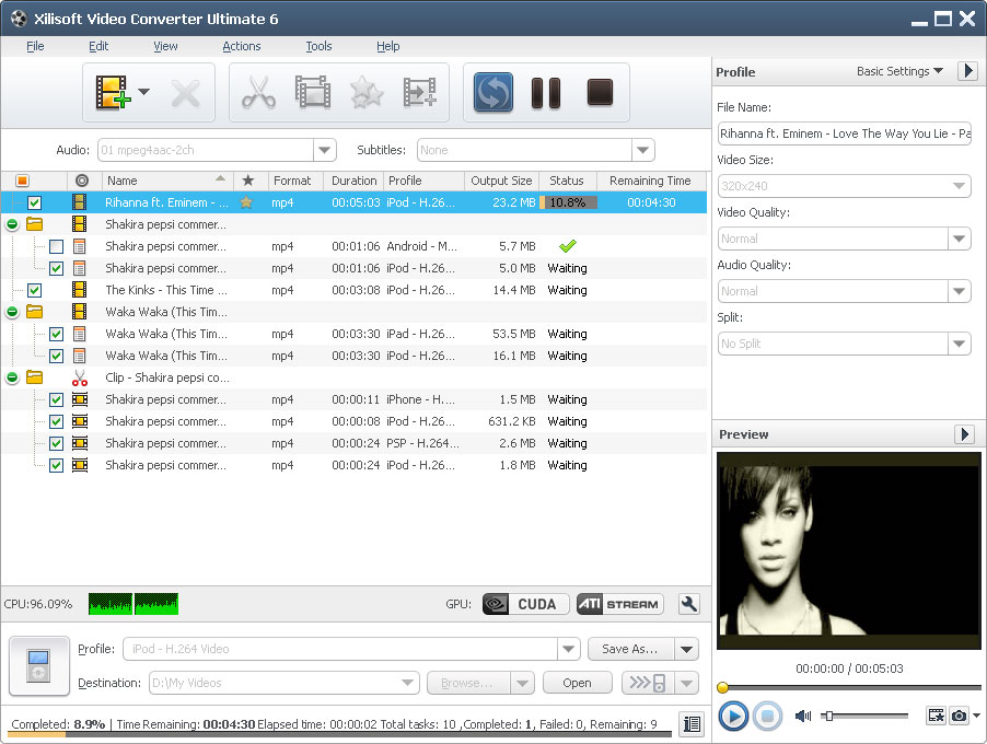 Xilisoft Video Converter Ultimate(UK) Screen shot